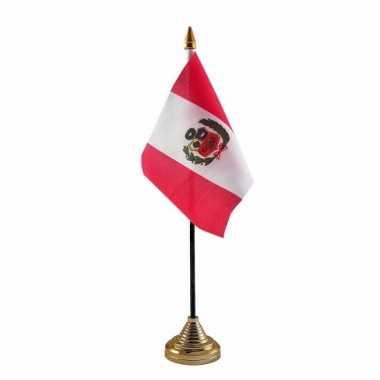 Polyester peruaanse vlag voor op bureau 10 x 15 cm