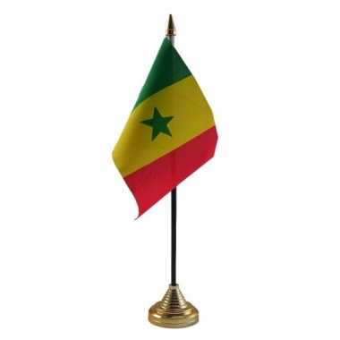 Polyester senegalese vlag voor op bureau 10 x 15 cm