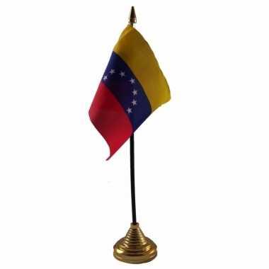 Polyester venezolaanse vlag voor op bureau 10 x 15 cm