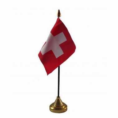 Polyester zwitserse vlag voor op bureau 10 x 15 cm