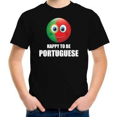 Portugal emoticon happy to be portuguese landen t-shirt zwart kinderen