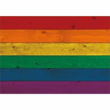 Poster van de regenboog vlag op hout 84 cm