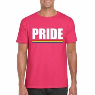Pride shirt roze met regenboog vlag heren