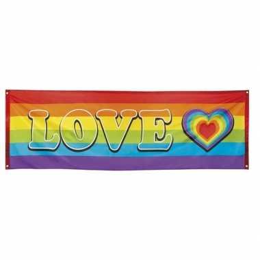 Regenboog met hartje vlag baniergen 74 x 220 cm