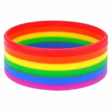Regenboogvlag kleuren armbandje 20 cm