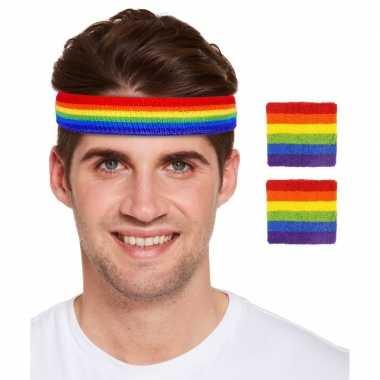 Regenboogvlag kleuren hoofd en polsbandjes set
