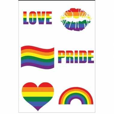 Regenboogvlag kleuren nep tattoeages 6 stuks