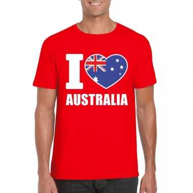 Rood i love australie fan shirt heren