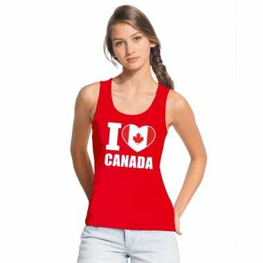 Rood i love canada fan singlet shirt/ tanktop dames