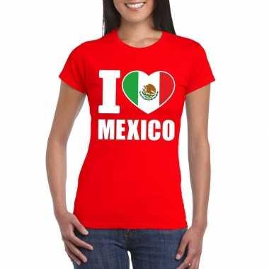 Rood i love mexico fan shirt dames