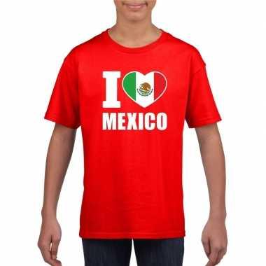 Rood i love mexico fan shirt kinderen