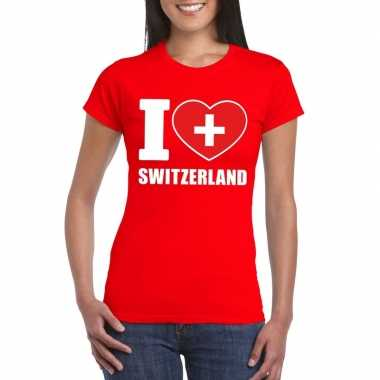 Rood i love zwitserland fan shirt dames