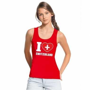 Rood i love zwitserland fan singlet shirt/ tanktop dames