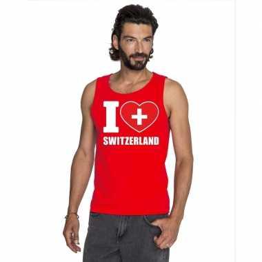 Rood i love zwitserland fan singlet shirt/ tanktop heren