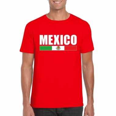 Rood mexico supporter t-shirt voor heren