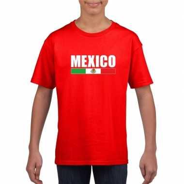 Rood mexico supporter t-shirt voor kinderen
