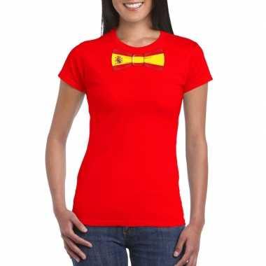 Rood t-shirt met spanje vlag strikje dames