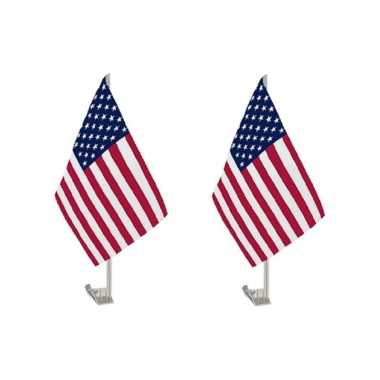 Set van 2x stuks amerika/usa autoraamvlaggen 28 x 44 cm