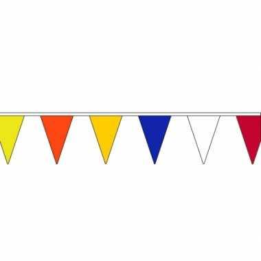 Set van 3x stuks gekleurde vlaggenlijnen van stof van 13 meter