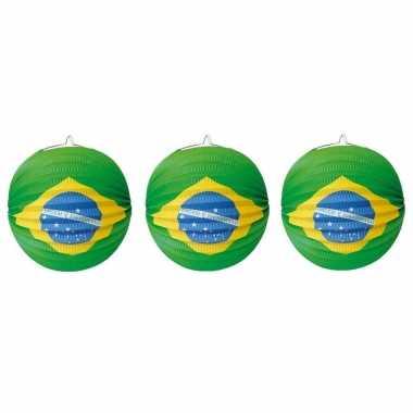 Set van 5x stuks lampionnen brazilie versiering van 24 cm