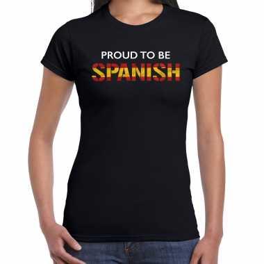 Spanje proud to be spanish landen t-shirt zwart dames