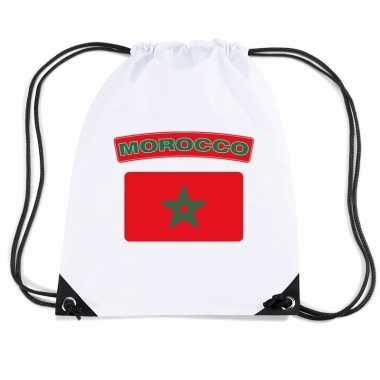 Sporttas met rijgkoord vlag marokko