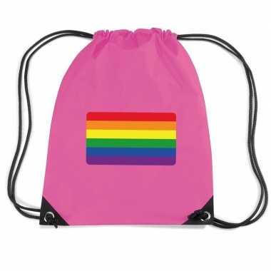 Sporttas met rijgkoord vlag regenboog