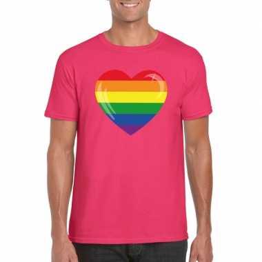 T-shirt roze regenboog vlag in hart roze heren
