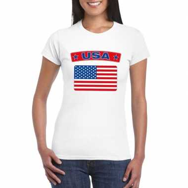 T-shirt wit amerika vlag wit dames