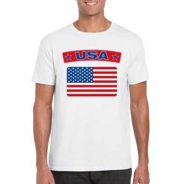 T-shirt wit amerika vlag wit heren