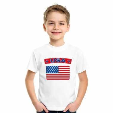 T-shirt wit amerika vlag wit jongens en meisjes
