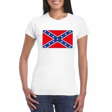 T-shirt wit amerikaanse zuidelijke staten vlag wit dames