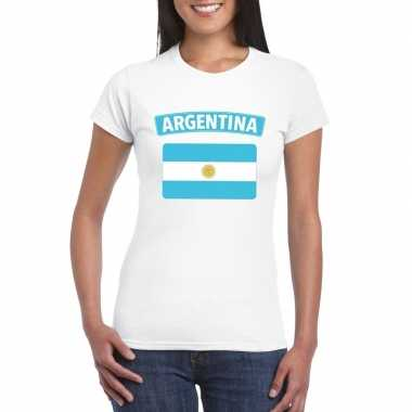 T-shirt wit argentinie vlag wit dames