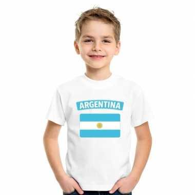 T-shirt wit argentinie vlag wit jongens en meisjes