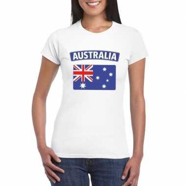 T-shirt wit australie vlag wit dames