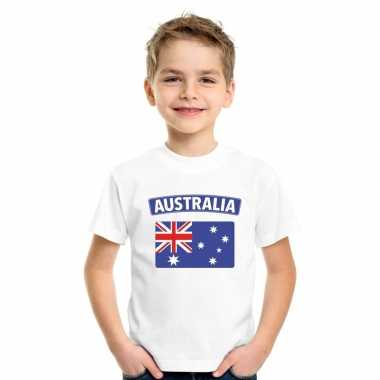 T-shirt wit australie vlag wit jongens en meisjes