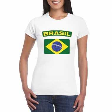 T-shirt wit brazilie vlag wit dames
