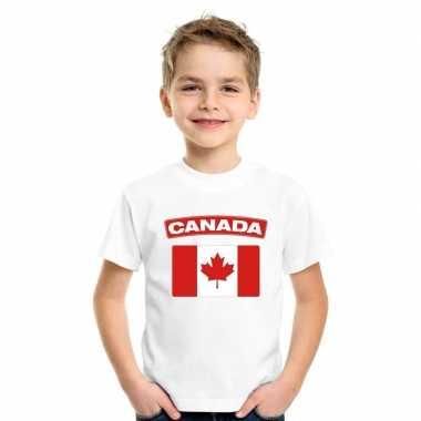 T-shirt wit canada vlag wit jongens en meisjes
