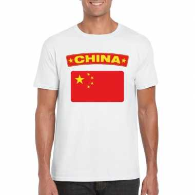 T-shirt wit china vlag wit heren