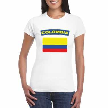 T-shirt wit colombia vlag wit dames