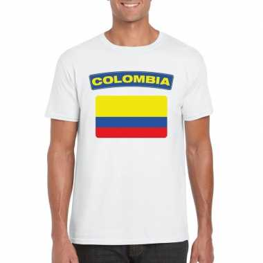 T-shirt wit colombia vlag wit heren