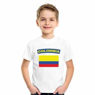 T-shirt wit colombia vlag wit jongens en meisjes