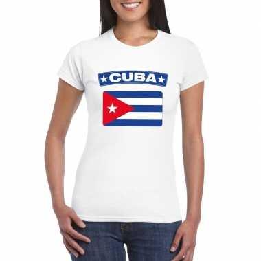T-shirt wit cuba vlag wit dames