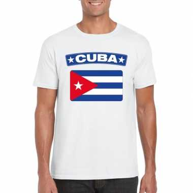 T-shirt wit cuba vlag wit heren