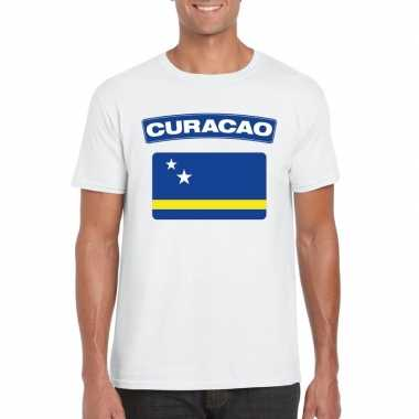 T-shirt wit curacao vlag wit heren