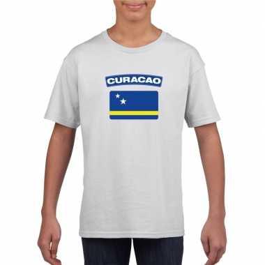T-shirt wit curacao vlag wit jongens en meisjes