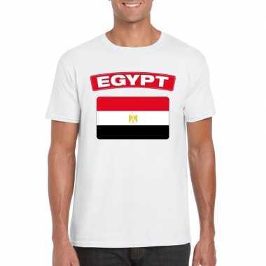 T-shirt wit egypte vlag wit heren