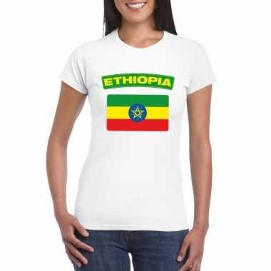 T-shirt wit ethiopie vlag wit dames