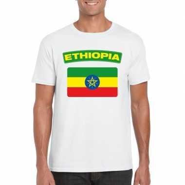 T-shirt wit ethiopie vlag wit heren