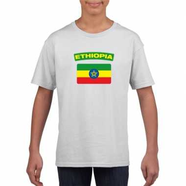 T-shirt wit ethiopie vlag wit jongens en meisjes